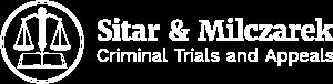 alternate logo in white for sitar & milczarek